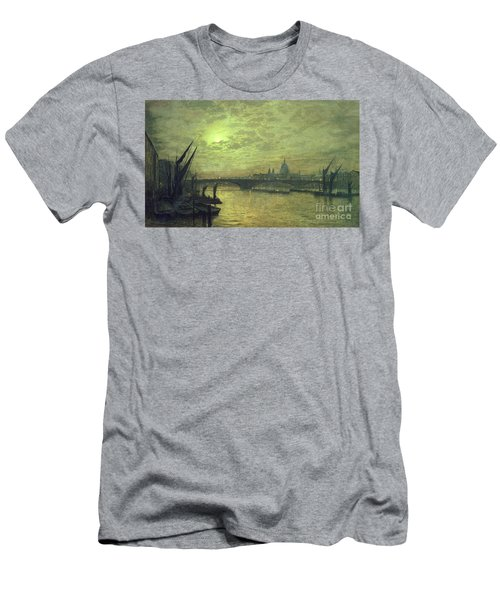 The Thames By Moonlight With Southwark Bridge Men's T-Shirt (Athletic Fit)