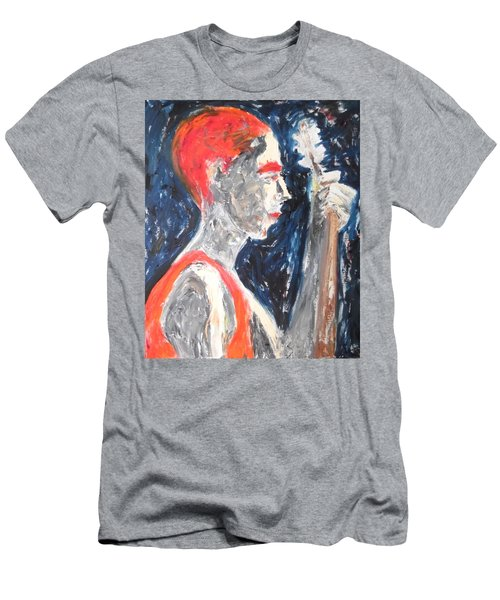 Men's T-Shirt (Athletic Fit) featuring the painting The Turkish Baglama Player by Esther Newman-Cohen