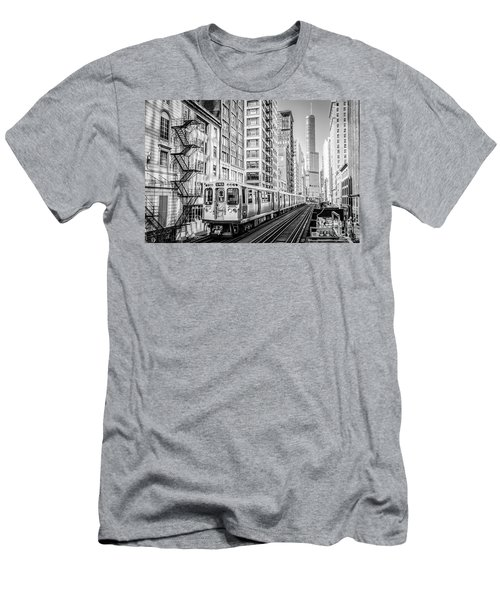 The Wabash L Train In Black And White Men's T-Shirt (Athletic Fit)