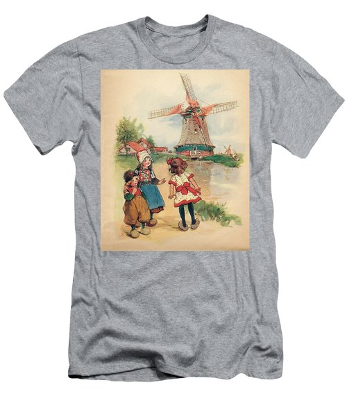 The Windmill And The Little Wooden Shoes Men's T-Shirt (Slim Fit) by Reynold Jay