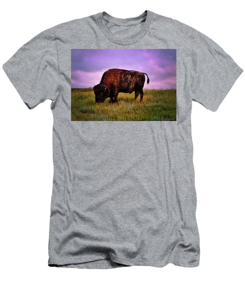 Men's T-Shirt (Slim Fit) featuring the photograph Theodore Roosevelt National Park 008 - Buffalo by George Bostian