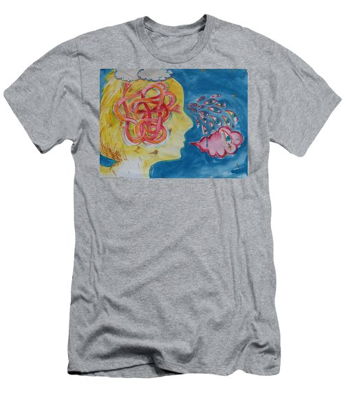 Men's T-Shirt (Slim Fit) featuring the painting Thinking by Tilly Strauss