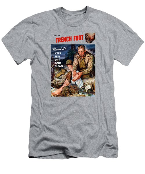Men's T-Shirt (Slim Fit) featuring the painting This Is Trench Foot - Prevent It by War Is Hell Store