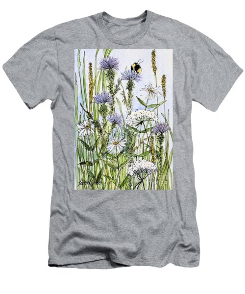 Thistles Daisies And Wildflowers Men's T-Shirt (Slim Fit) by Laurie Rohner