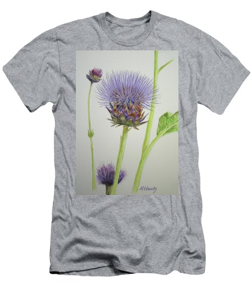 Men's T-Shirt (Slim Fit) featuring the painting Thistles by Marna Edwards Flavell