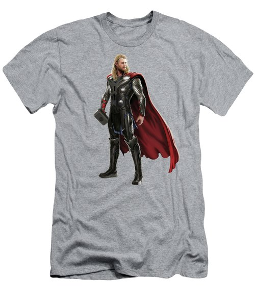 Men's T-Shirt (Slim Fit) featuring the mixed media Thor Splash Super Hero Series by Movie Poster Prints