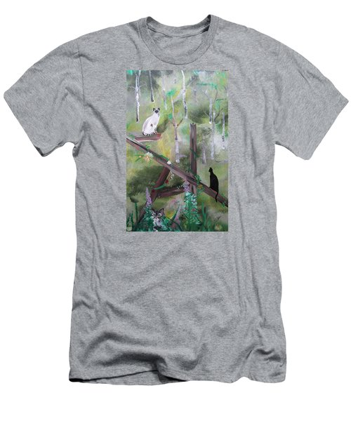 Three Cats In The Yard Men's T-Shirt (Athletic Fit)