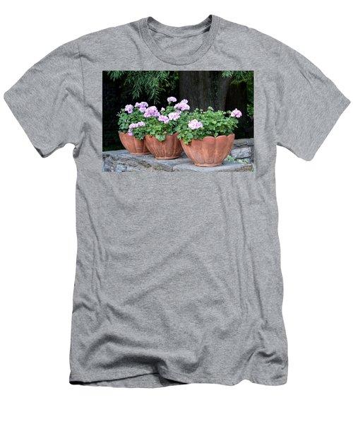 Men's T-Shirt (Slim Fit) featuring the photograph Three Flower Pots by Deborah  Crew-Johnson