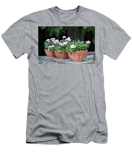 Men's T-Shirt (Athletic Fit) featuring the photograph Three Flower Pots by Deborah  Crew-Johnson