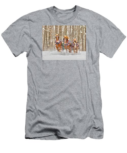 Three Horses Running Men's T-Shirt (Athletic Fit)