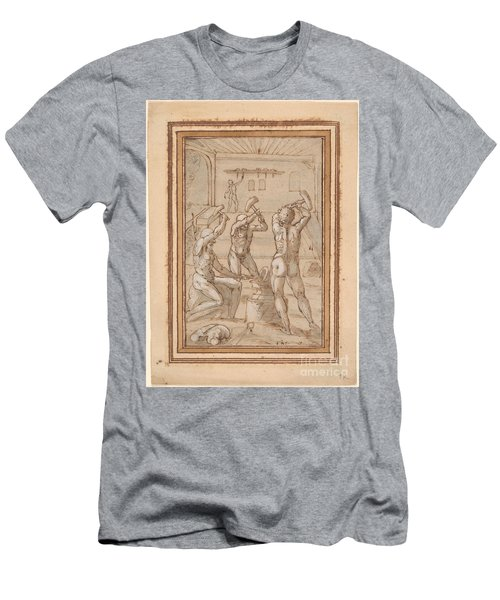 Three Nude Blacksmiths At An Anvil Men's T-Shirt (Athletic Fit)
