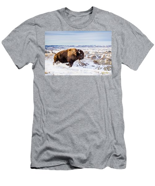 Men's T-Shirt (Athletic Fit) featuring the photograph Thunder In The Snow by Rikk Flohr