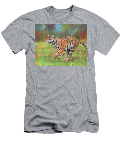 Men's T-Shirt (Slim Fit) featuring the painting Tiger Running by David Stribbling