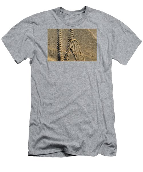 Men's T-Shirt (Slim Fit) featuring the photograph Tire And Sneaker Tracks by Lyle Crump