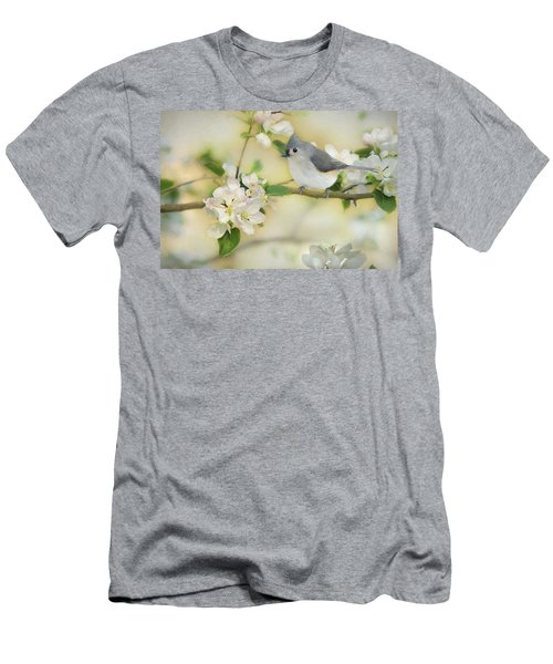 Men's T-Shirt (Slim Fit) featuring the mixed media Titmouse In Blossoms 2 by Lori Deiter