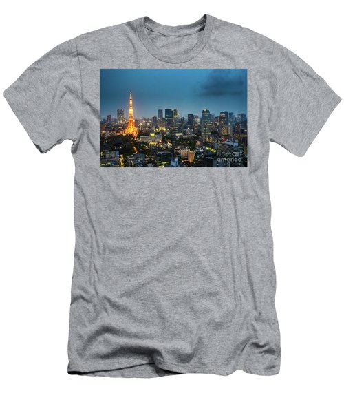 Tokyo Tower And Skyline Men's T-Shirt (Athletic Fit)