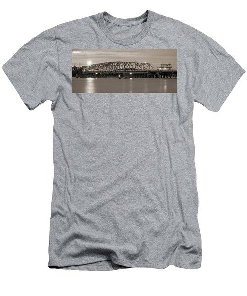 Topsail Island Bridge Sepia Men's T-Shirt (Athletic Fit)
