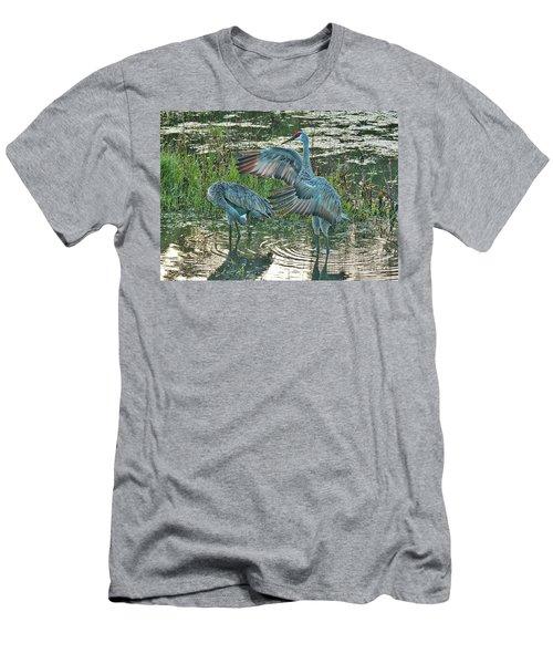 Topsy Turvy Sandhill Cranes Men's T-Shirt (Athletic Fit)