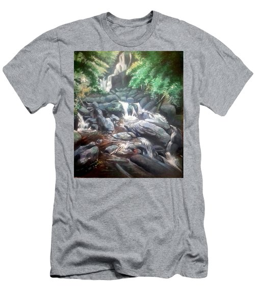 Men's T-Shirt (Slim Fit) featuring the painting Torc Waterfall County Kerry Ireland by Paul Weerasekera