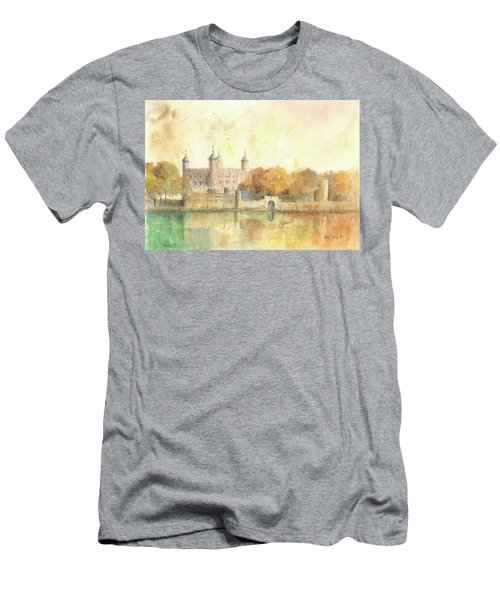 Tower Of London Watercolor Men's T-Shirt (Slim Fit) by Juan Bosco