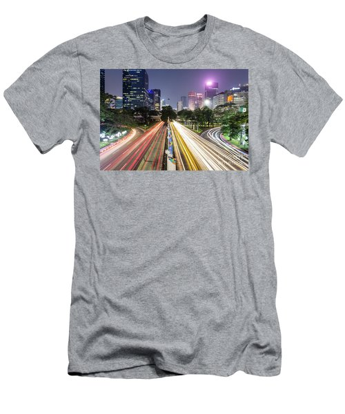 Traffic Night Rush In Jakarta, Indonesia Capital City.  Men's T-Shirt (Athletic Fit)