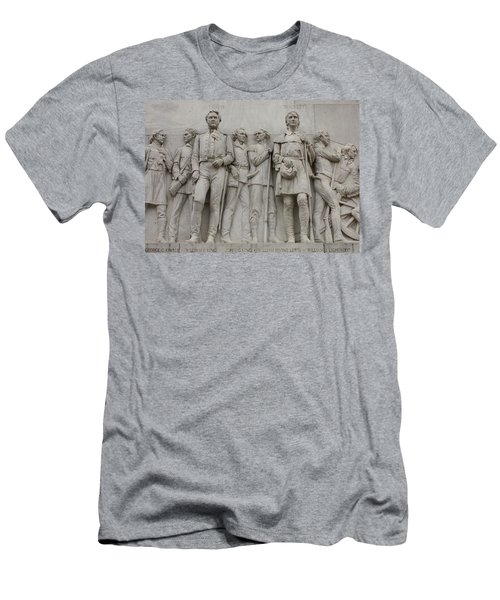 Travis And Crockett On Alamo Monument Men's T-Shirt (Athletic Fit)