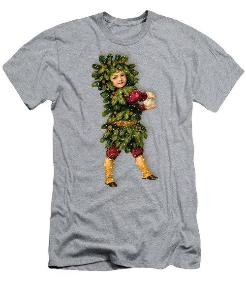 Tree Child Vintage Christmas Image Men's T-Shirt (Slim Fit) by R Muirhead Art