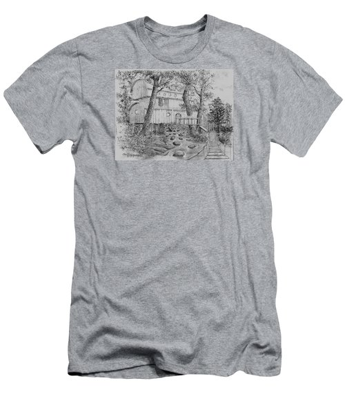 Men's T-Shirt (Slim Fit) featuring the drawing Tree House #5 by Jim Hubbard