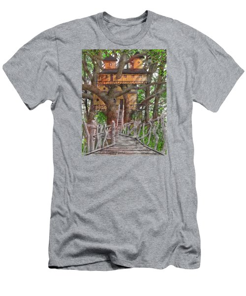 Men's T-Shirt (Slim Fit) featuring the drawing Tree House #6 by Jim Hubbard