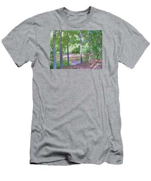 Men's T-Shirt (Slim Fit) featuring the photograph Trees At Rivers Edge by Shirley Moravec