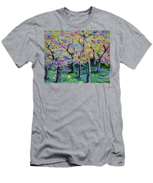 Trees On Hideaway Ct Men's T-Shirt (Slim Fit) by Lisa Rose Musselwhite