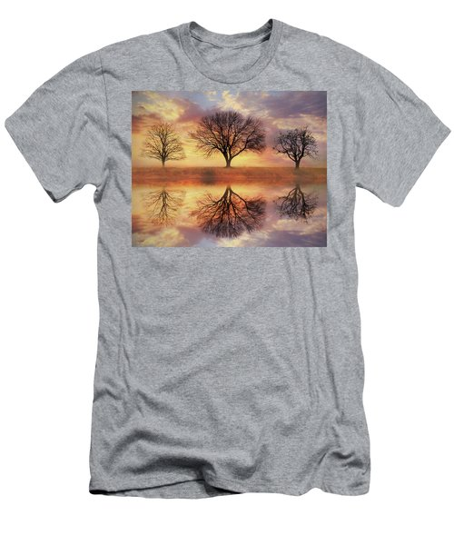Men's T-Shirt (Slim Fit) featuring the mixed media Trio Of Trees by Lori Deiter