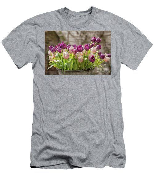 Men's T-Shirt (Slim Fit) featuring the photograph Tulips In A Bucket by Patricia Hofmeester