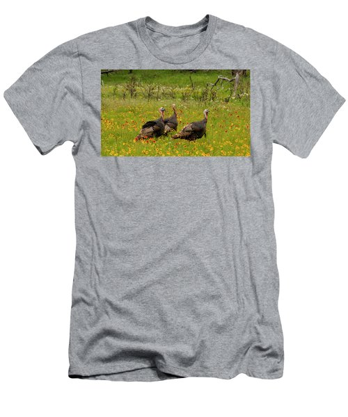 Turkeys In Wildflowers Men's T-Shirt (Athletic Fit)