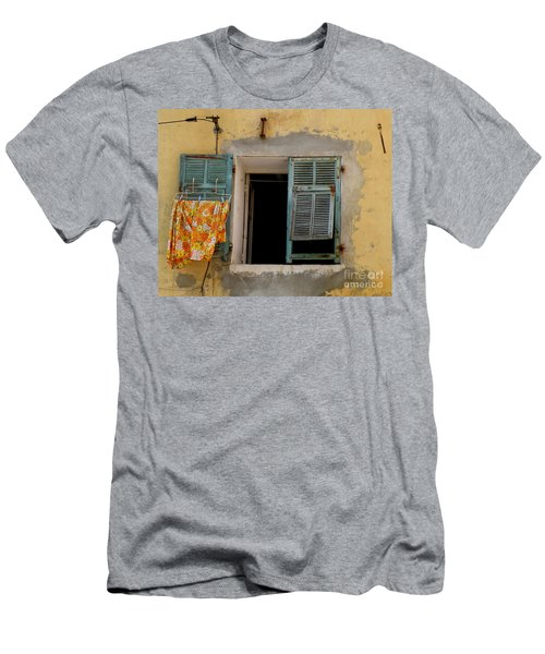 Turquoise Shuttered Window Men's T-Shirt (Athletic Fit)