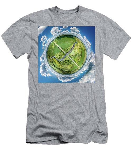 Men's T-Shirt (Athletic Fit) featuring the photograph Turtle Creek Railroad Bridge Little Planet by Randy Scherkenbach