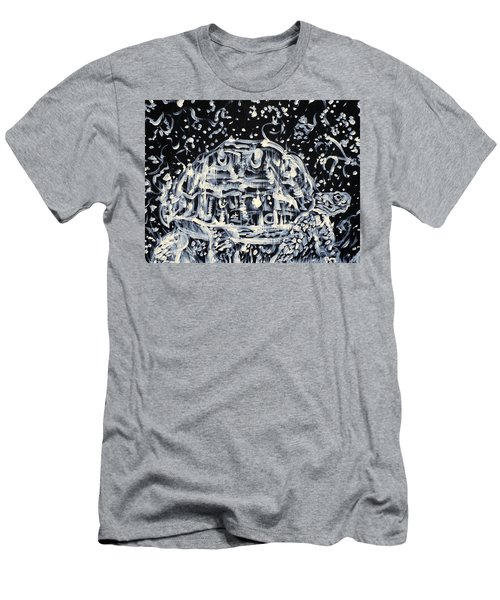 Men's T-Shirt (Slim Fit) featuring the painting Turtle Walking Under A Starry Sky by Fabrizio Cassetta