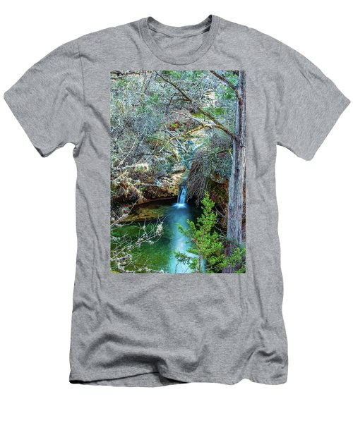 Twin Falls At Peddernales Falls State Park Men's T-Shirt (Slim Fit) by Micah Goff