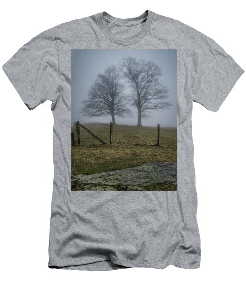 Twin Trees Late Fall Foggy Morning Men's T-Shirt (Athletic Fit)