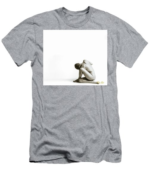 Men's T-Shirt (Athletic Fit) featuring the photograph Twisted Figure On White by Rikk Flohr