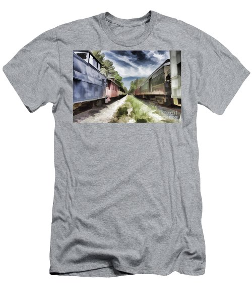 Twixt The Trains Men's T-Shirt (Slim Fit) by Roberta Byram