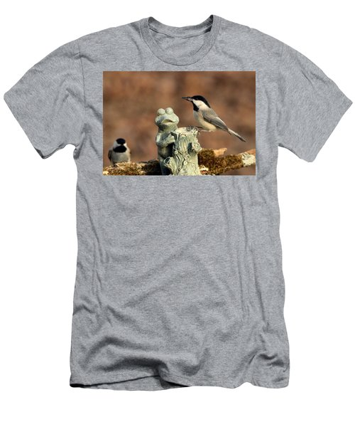 Two Black-capped Chickadees And Frog Men's T-Shirt (Slim Fit) by Sheila Brown