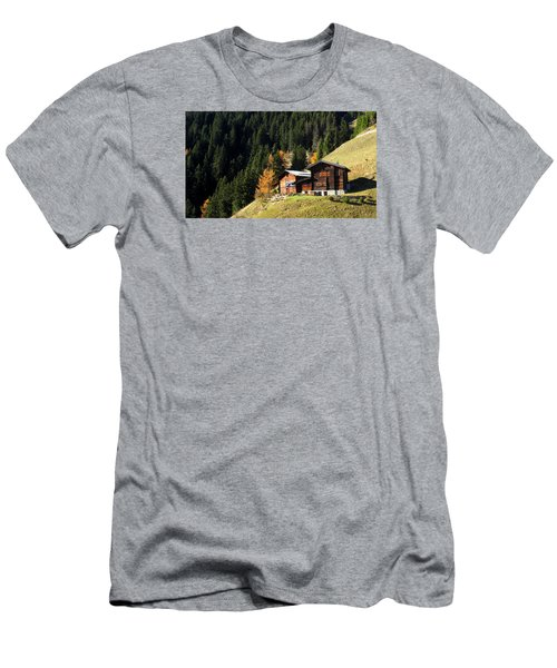 Two Chalets On A Mountainside Men's T-Shirt (Slim Fit) by Ernst Dittmar