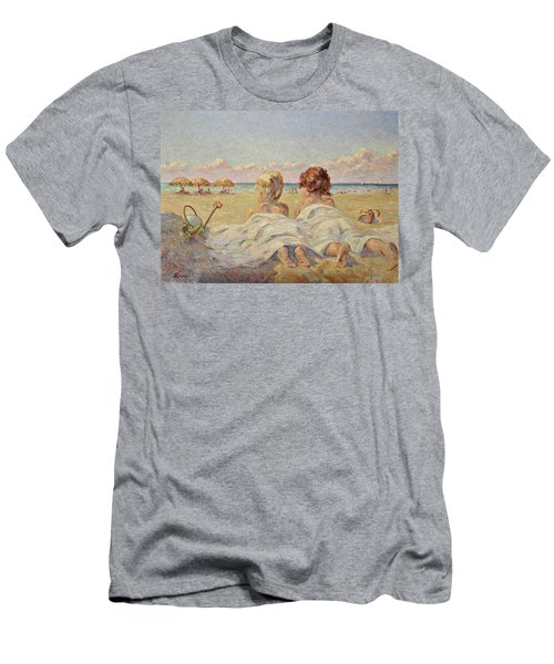 Two Children On The Beach Men's T-Shirt (Athletic Fit)