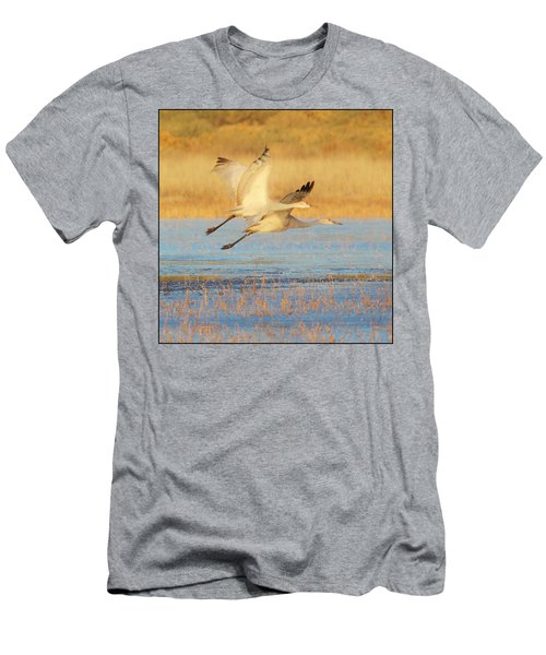 Men's T-Shirt (Athletic Fit) featuring the photograph Two Cranes Cruising by Marla Craven