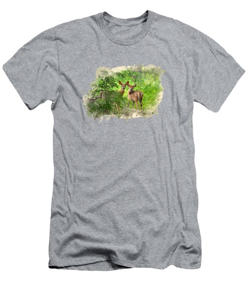 Two Deer Fawns Watercolor Art Men's T-Shirt (Athletic Fit)