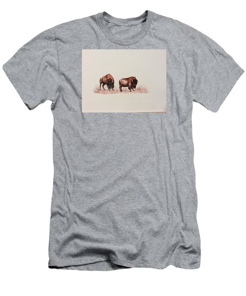 Men's T-Shirt (Slim Fit) featuring the drawing Two Grumpy Bisons  by Ellen Canfield