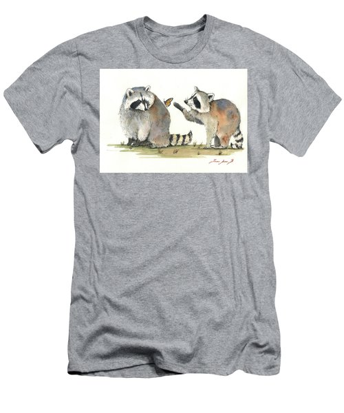 Two Raccoons Men's T-Shirt (Slim Fit) by Juan Bosco