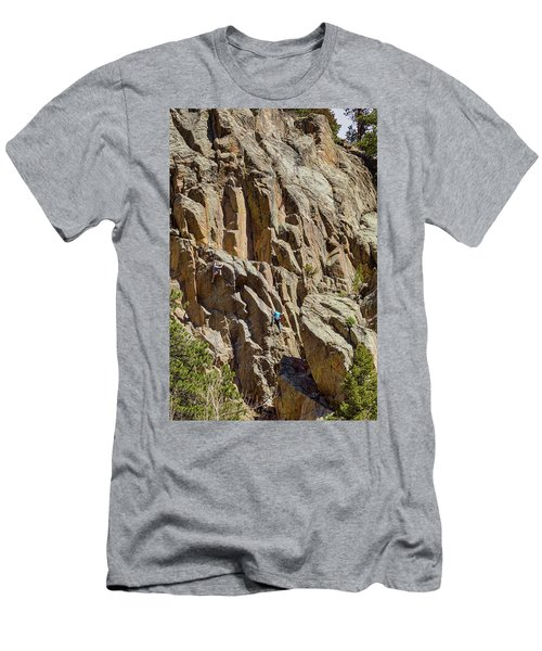 Men's T-Shirt (Slim Fit) featuring the photograph Two Rock Climbers Making Their Way by James BO Insogna