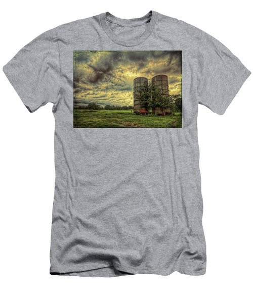 Men's T-Shirt (Athletic Fit) featuring the photograph Two Silos by Lewis Mann